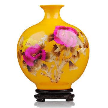 陶瓷器 黃色花瓶