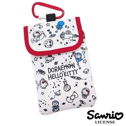 白色款【日本進口正版】哆啦A夢 x Hello Kitty 防震手機套 保護套 附金屬掛勾 三麗鷗 - 412630