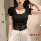 蕾絲衫 2020年新款夏季女裝蕾絲短袖t恤短款上衣配高腰褲修身流行韓版潮 vk1815
