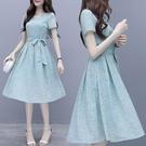 雪紡洋裝2021新款氣質顯瘦流行碎花仙女裙子收腰超仙森系甜 快速出貨