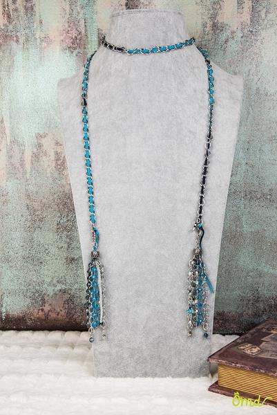 寶藍深邃藍復古流蘇 施華洛世奇元素多種色彩水晶圓珠多式穿戴長鍊  316L長鍊 麂皮帶   ~ OHMYDOG! ~