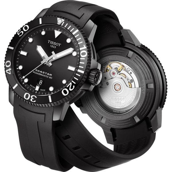 【送電影票】TISSOT 天梭 Seastar 海洋之星陶瓷潛水機械錶-PVD/43mm T1204073705100