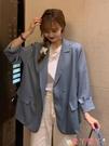 西裝外套 寬鬆氣質休閒西裝外套女春季2021新款韓版網紅藍色炸街小西服上衣 愛丫 免運