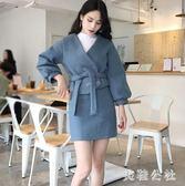 2018新款毛呢套裝百搭高腰修身短裙兩件套zzy6750『美鞋公社』