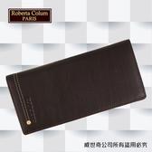 【Roberta Colum】諾貝達 男用皮夾 長夾 專櫃皮夾 進口軟牛皮鉚釘長夾 (咖啡色-23158)【威奇包仔通】