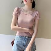 夏季短袖冰絲針織T恤女修身顯瘦木耳邊高腰短款露肚臍鎖骨上衣薄