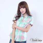 Victoria 雙袋基本短袖襯衫-女-淺綠