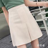 大尺碼 高腰顯瘦純色半身開叉內襯防走光A字型包臀短裙 DN15748【旅行者】