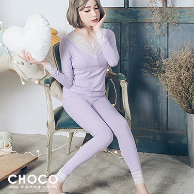 Choco Shop-美好時光‧純棉舒適成套睡衣(淺紫色) M-L Size