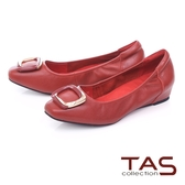 TAS金屬飾釦綿羊皮內增高娃娃鞋-熱情紅