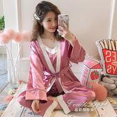 性感睡衣女冰絲薄款和服吊帶長袖真絲綢睡袍家居三件套裝【果果精品】
