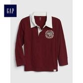 Gap男嬰幼童 刺繡拼布長袖Polo衫 491321-酒紅色