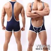 情趣用品 男用三角內褲   內褲 同志 VENUS 猛男性感 透氣背心平角連體衣 背帶褲 藏青