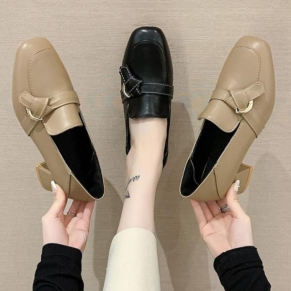 可後踩.質感簡約一字扭結樂福高跟方頭包鞋.白鳥麗子