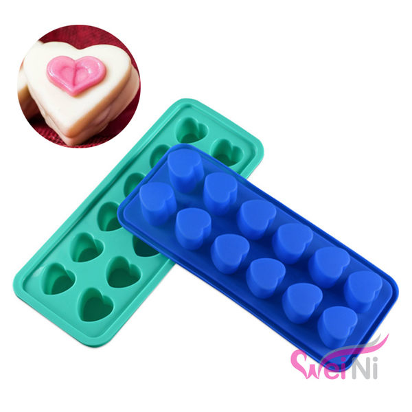 wei-ni 矽膠模 愛心造型 12連 蛋糕模 矽膠模具 巧克力模型 冰塊模型 製冰盒 餅乾模具 玩具模