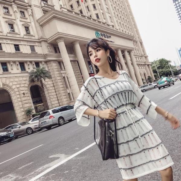 秋裝新款韓版氣質韓版氣質鏤空綁帶流蘇收腰顯瘦針織裙洋裝