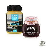 【 紐西蘭恩賜】三葉草蜂蜜1瓶 (500公克) +【MRS. BRIDGES】英橋夫人蔓越莓櫻桃果醬果醬(大)340g