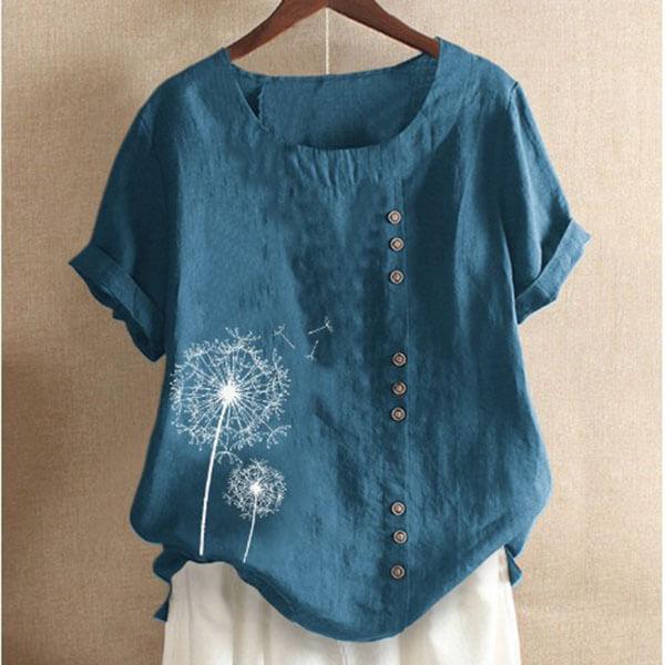 棉麻釦子裝飾蒲公英印花上衣-中大尺碼 獨具衣格 J3017