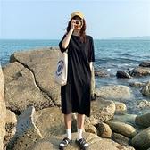 洋裝連身裙口袋短袖T恤女過膝包臀刺繡字母連身裙1F009 依品國際