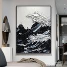 純手繪抽象油畫掛畫客廳黑白浪花現代簡約豎版餐廳玄關裝飾畫手工 QM 依凡卡時尚