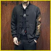 唐裝-唐裝男套裝青年復古盤扣刺繡外套寬鬆大碼中式男裝