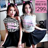 克妹Ke-Mei【AT45247】Ke-Mei獨家CHOMOP字母橫T恤+荷葉腰帶褲裙套裝
