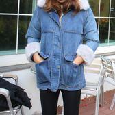 梨卡 - 兩層式可拆爆毛毛領中長版仿水貂毛牛仔外套風衣大衣AR061