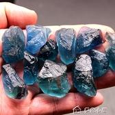 靈昌水晶碎石天然藍色螢石擺件原石原礦毛料水晶能量水晶礦石標本 【快速出貨】