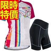 自行車衣 短袖 車褲套裝-吸濕排汗透氣暢銷美觀女單車服 56y27[時尚巴黎]
