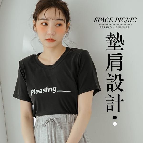 上衣 Space Picnic|正韓-Pleasing字母墊肩短袖上衣(現+預)【K20055025】