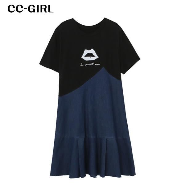 中大尺碼 唇印拼接牛仔洋裝 - 適XL~4L《 66133i 》CC-GIRL