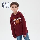 Gap男童 Logo創意風格印花連帽休閒上衣 619652-紅色