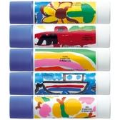 兒童繪製的可愛插圖口紅膠5入(藍色膠在乾燥時會消失,很安全)。
