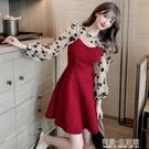 時尚套裝年秋季新款氣質長袖襯衫吊帶顯瘦洋裝兩件套女 雙十二全館免運