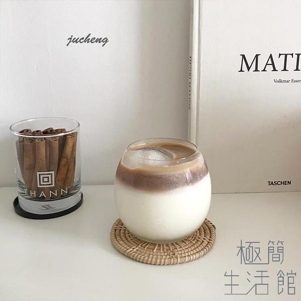 餐廳冰咖啡杯飲料杯北歐甜品杯蘇打水玻璃杯子【極簡生活】