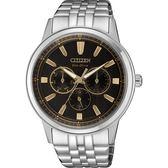 【台南 時代鐘錶 CITIZEN】星辰 光動能 三眼日期時尚腕錶 BU2071-87E 黑/銀 44mm