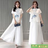 復古休閒套裝 中國風漢服改良唐裝套裝女復古棉麻繡花茶服兩件套