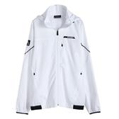 KAPPA義大利時尚型男合身版四面彈慢跑單層風衣 可拆帽 白
