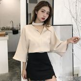 V領上衣裝新款復古韓版V領小心機掛脖設計感寬鬆短袖襯衫上衣女襯衣潮  凱斯盾數位3C