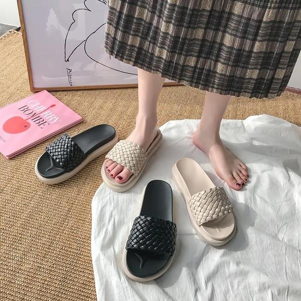 厚底拖鞋 新款夏季網紅厚底涼拖鞋女外穿ins潮時尚百搭少女心可愛沙灘 叮噹百貨