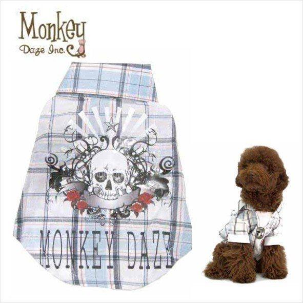Pet's Talk~美國Monkey Daze超酷假兩件式骷顱頭格子項鍊襯衫 中大型犬