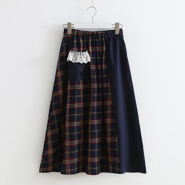 *ORead*日系小清新網紗格子鬆緊腰半身裙(圖片色F碼)