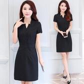 職業連身裙2020夏季新款OL短袖連身裙條紋氣質顯瘦包臀裙工作服女 FX6722 【MG大尺碼】