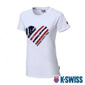 K-SWISS Tennis Ball W/Heart Tee印花短袖T恤-女-白