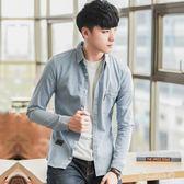 新款牛仔襯衫長袖學生韓版休閒男士外套tz6091【男人與流行】