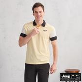 【JEEP】HiCool吸濕排汗撞色拼接短袖POLO(淡黃)
