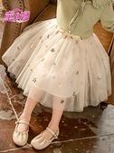 女童短裙 兒童網紗半身裙韓版春裝中大童亮片刺繡短裙中長款女童蓬蓬裙紗裙