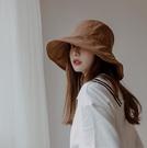 帽子 女夏季大檐 現貨 防曬漁夫帽 2021新款太陽帽 日系戶外遮陽帽