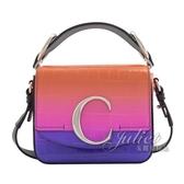 茱麗葉精品【全新現貨】CHLOE 新款 金屬C Mini鱷魚紋漸層手提單肩方包.紫