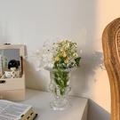 玻璃水晶花瓶復古風歐式翻邊高腳敞口裝飾【聚寶屋】